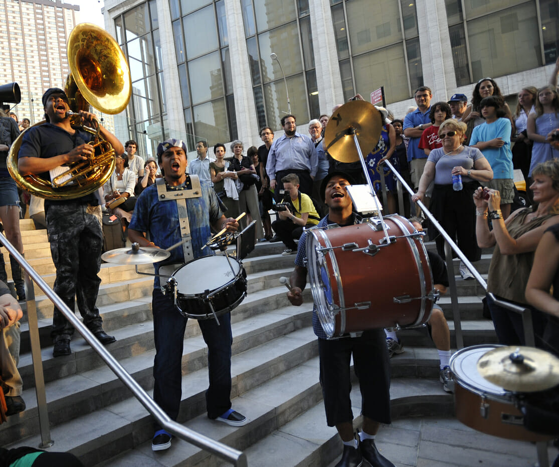 The Asphalt Orchestra performs at Lincoln Center out of Doors in a premiere in front of Alice Tully Hall and on the plaza of Lincoln Center on August 5, 2009