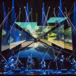 "Bang on A Can All-Stars perform ""Road Trip"" Music by Michael Gordon, David Lang, and Julia Wolfe Directed by Michael Counts, at the BAM Opera House on October 27, 2017. PERFORMED BY Bang on a Can All-Stars Ashley Bathgate cello Robert Black bass Vicky Chow piano and keyboard David Cossin percussion Mark Stewart guitar Ken Thomson clarinet and bass clarine Photo Credit: Stephanie Berger."